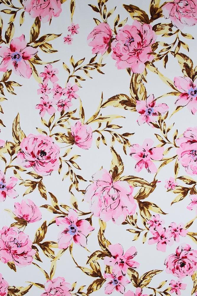94da8d6b92 Cotton Satin Spandex - Ivory Garden - Lowry Fabrics